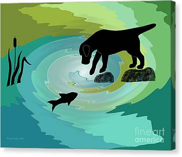 Fishing Labrador Dog Canvas Print by Amy Reges