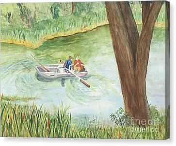 Canvas Print featuring the painting Fishing Lake Tanko by Vicki  Housel