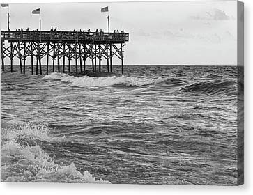 Canvas Print featuring the photograph Fishing Off The Pier At Myrtle Beach by Chris Flees
