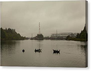 Canvas Print - Fishing On Foggy Columbia River by David Gn