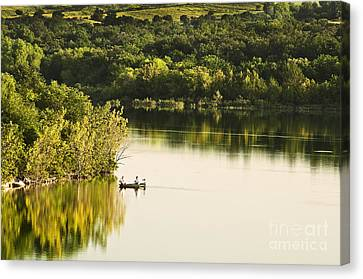 Canvas Print featuring the photograph Fishing On Mountain Lake by Tamyra Ayles