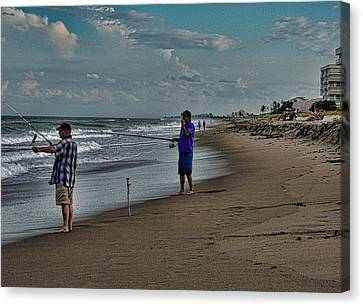 Fishing On The Beach Canvas Print by Marilyn Holkham