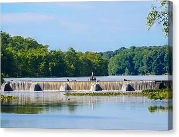Fishing On The Millstone River - Kingston New Jersey Canvas Print by Bill Cannon
