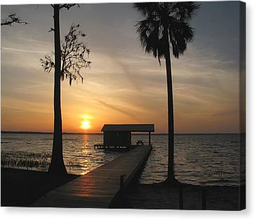 Canvas Print featuring the photograph Fishing Pier At Dusk by Peg Urban