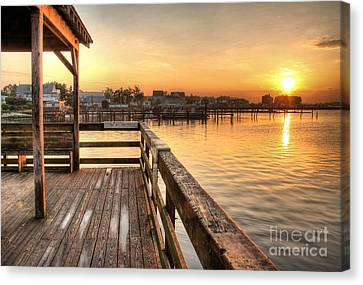 Fishing Pier Canvas Print by John Loreaux