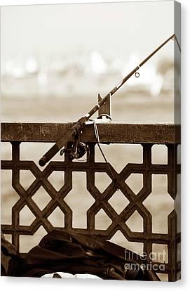 Fishing Pole On The Galata Canvas Print by John Rizzuto