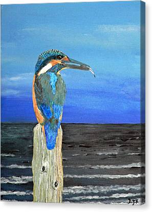 Canvas Print featuring the painting Fishing Post Kingfisher Of Eftalou. by Eric Kempson