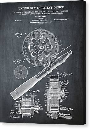 Fishing Reel Patent 1906 Chalk Canvas Print by Bill Cannon