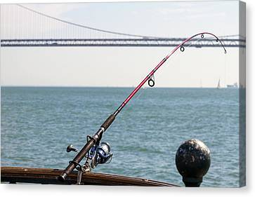 Canvas Print - Fishing Rod On The Pier In San Francisco Bay by David Gn