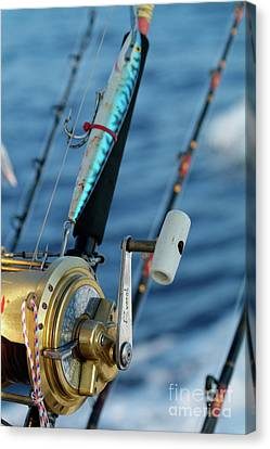 Fishing Rods Onboard A Boat In The Mediterranean Sea Canvas Print by Sami Sarkis