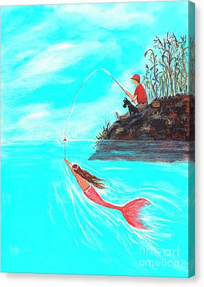 Canvas Print featuring the painting Fishing Surprise by Leslie Allen