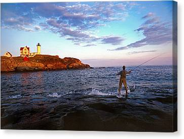 Nubble Lighthouse Canvas Print - Fishing The Nubble by Skip Willits