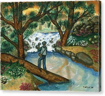 Fishing The Sunny River Canvas Print by Tanna Lee M Wells