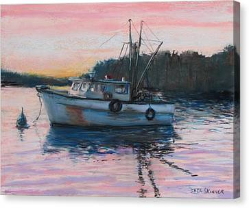 Fishing Trawler At Rest Canvas Print by Jack Skinner
