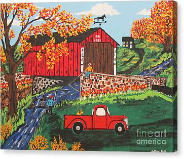 Canvas Print featuring the painting Fishing Under The  Covered Bridge by Jeffrey Koss