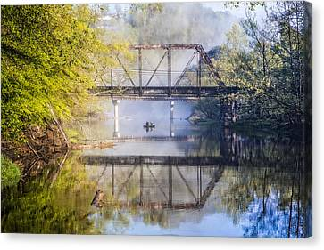 Fishing Under The Trestle Canvas Print