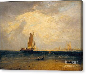 Fishing Upon The Blythe-sand Canvas Print by Celestial Images