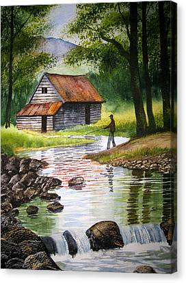 Fishing Upstream Canvas Print