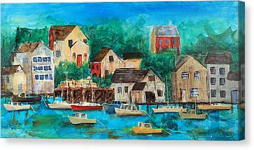 Fishing Village Canvas Print by Theresa Morse