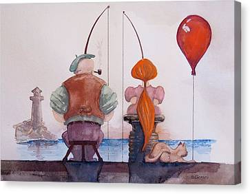 Canvas Print featuring the painting Fishing With Grandpa by Geni Gorani