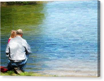 Fishing With Grandpa Canvas Print by Lila Fisher-Wenzel