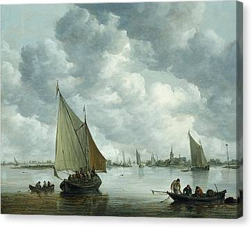 1596 Canvas Print - Fishingboat In An Estuary by Jan Josephsz van Goyen