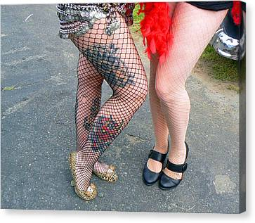 Canvas Print featuring the photograph Fishnet And Tattoos by Pamela Patch