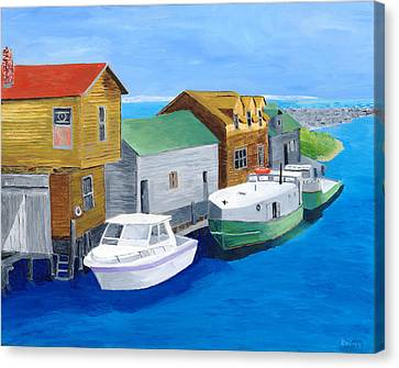 Canvas Print featuring the painting Fishtown by Rodney Campbell