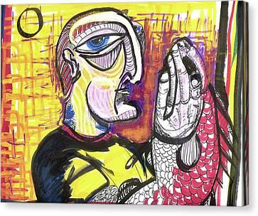 Fishy Hands Canvas Print by Robert Wolverton Jr