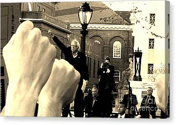 Fists Up, Bernie Sanders, New Haven, Ct Canvas Print by Dani McEvoy