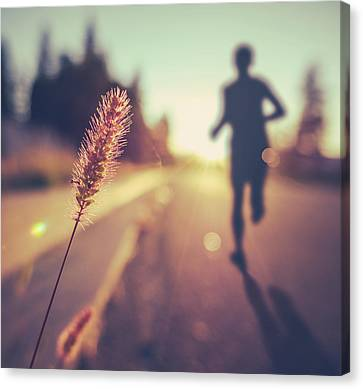 Fitness Training For Marathon At Sunset Canvas Print by Mr Doomits