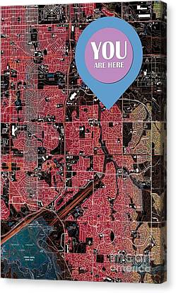 Fitzsimons Colorado 1965 Old Map You Are Here Canvas Print