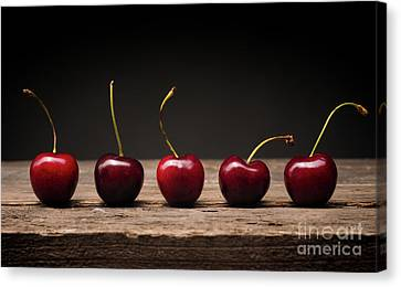 Five Cherries In A Row Canvas Print