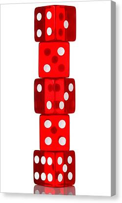 Five Dice Stack Canvas Print by Richard Thomas