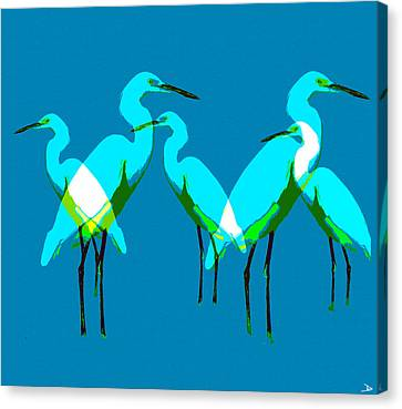 Canvas Print featuring the painting Five Egrets by David Lee Thompson