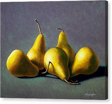 Five Golden Pears Canvas Print by Frank Wilson