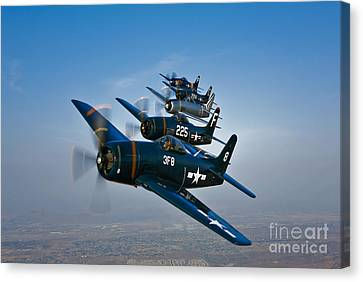 Five Grumman F8f Bearcats In Formation Canvas Print