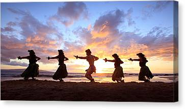 Five Hula Dancers At Sunset Canvas Print by David Olsen