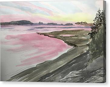 Canvas Print featuring the painting Five Islands - Watercolor Sketch  by Joel Deutsch