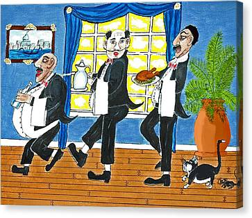 Five Italian Waiters Canvas Print by Gordon Wendling