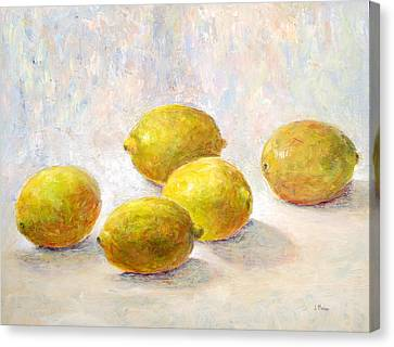 Five Lemons Canvas Print