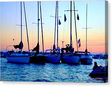 Boats In Water Canvas Print - Five Little Sailboats Sitting In A Row by Lisa Wooten