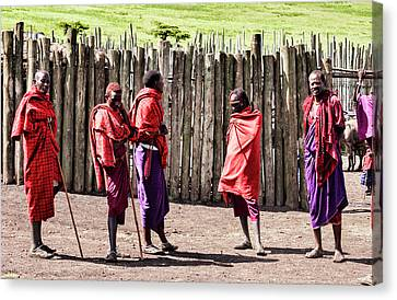 Five Maasai Warriors Canvas Print