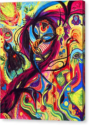 Canvas Print featuring the painting Raven Masquerade by Marina Petro