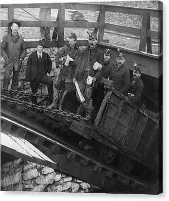 Five Miners Going Into The Slope Canvas Print by Everett