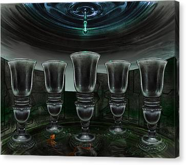 Glowing Canvas Print - Five Of Cups by Chad Glass