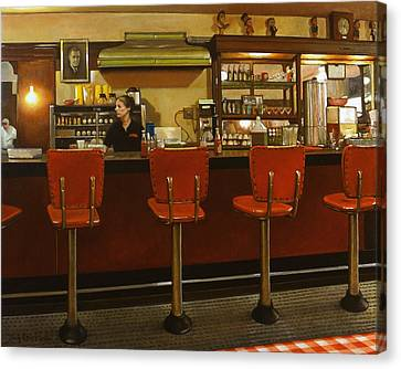 Five Past Six At The Mecca Cafe Canvas Print by Doug Strickland