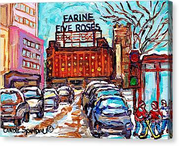 Five Roses Sign Montreal Landmark Marquee Street Hockey Painting Canadian Artist Carole Spandau      Canvas Print by Carole Spandau