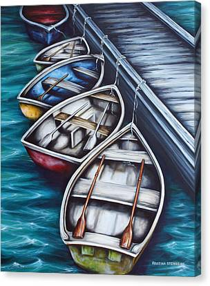 Five Rowboats Canvas Print by Kristina Steinbring