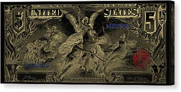 Canvas Print featuring the digital art Five U.s. Dollar Bill - 1896 Educational Series In Gold On Black  by Serge Averbukh